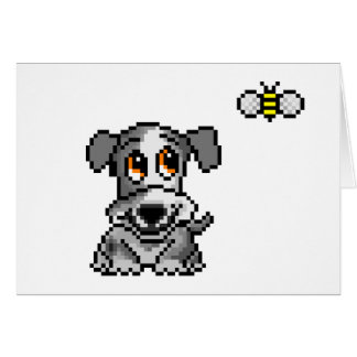 Cute pixel art puppy and bee card