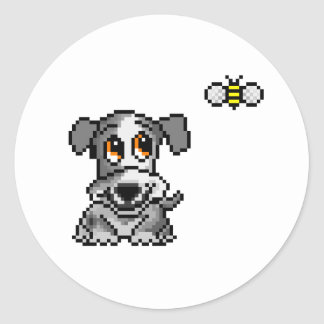 Cute pixel art puppy and bee classic round sticker