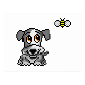 Cute pixel art puppy and bee postcard