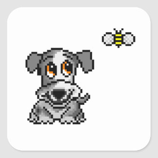 Cute pixel art puppy and bee square sticker