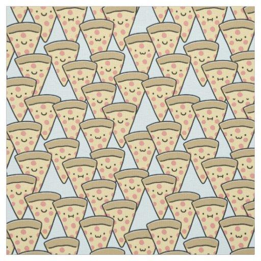 Cute Pizza Buddies Slices - Light Blue Fabric
