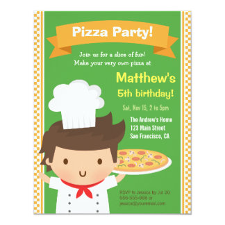 Cute Pizza Chef Boy Kids Birthday Party 4.25x5.5 Paper Invitation Card