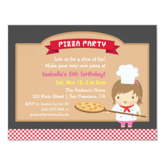 Cute Pizza Chef Girl Birthday Party Invitations