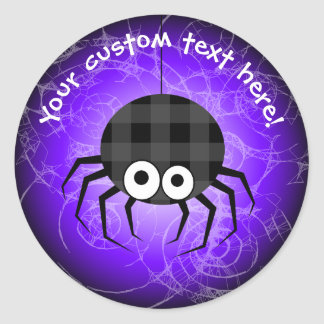 Cute Plaid Black Spider and Curly Web Classic Round Sticker