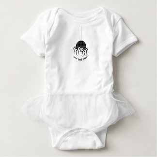 Cute Plaid Black Spiders and Curly Web Baby Bodysuit