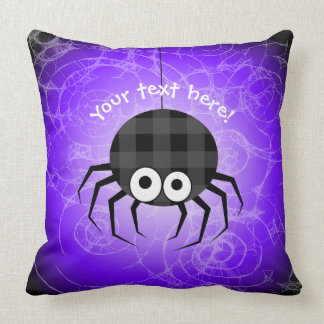 Cute Plaid Black Spiders and Curly Web Throw Pillow