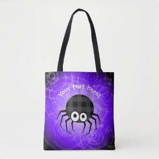 Cute Plaid Black Spiders and Curly Web Tote Bag