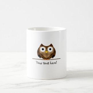 Cute Plaid Brown Horned Owl Illustration Coffee Mug