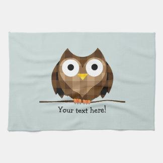Cute Plaid Brown Horned Owl Illustration Tea Towel