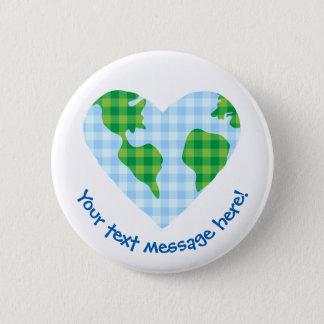 Cute Plaid Earth Heart Cartoon Icon 6 Cm Round Badge