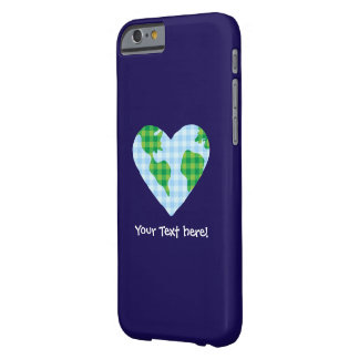 Cute Plaid Earth Heart Cartoon Icon Barely There iPhone 6 Case