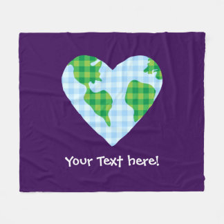 Cute Plaid Earth Heart Cartoon Icon Fleece Blanket