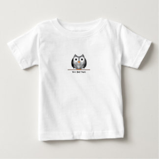 Cute Plaid Gray Horned Owl Illustration Baby T-Shirt