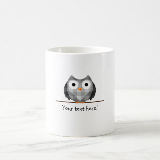 Cute Plaid Gray Horned Owl Illustration Coffee Mug
