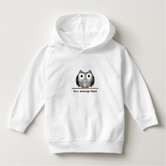 Cute Plaid Gray Horned Owl Illustration Hoodie