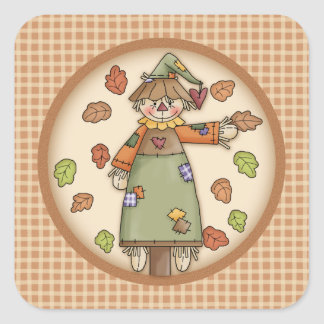 Cute Plaid Pattern with Scarecrow & Autumn Leaves Square Sticker