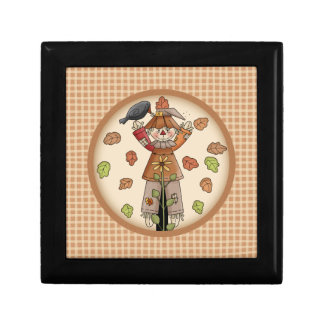 Cute Plaid & Scarecrow Autumn or Fall Gift Box