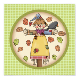 "Cute Plaid & Scarecrow Thanksgiving Invitation 5.25"" Square Invitation Card"
