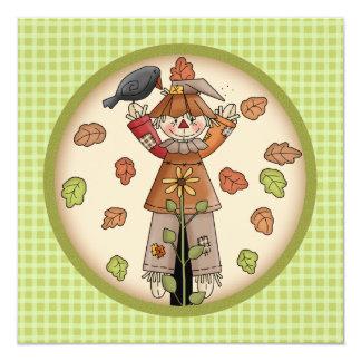 "Cute Plaid & Scarecrow Thanksgiving Invitation 5.25"" Square Invitation Card"