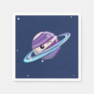 Cute Planet Saturn Space Galaxy Kid Birthday Disposable Napkin