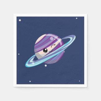 Cute Planet Saturn Space Galaxy Kid Birthday Paper Napkin