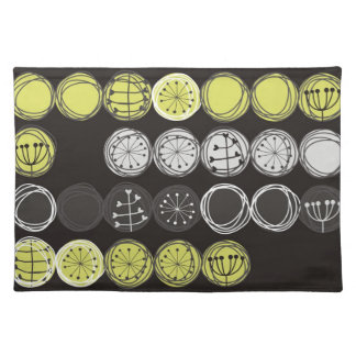 cute plants gray black green in circles on dark placemat