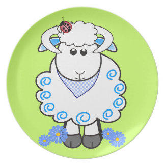 Cute plate with cartoon ram / sheep