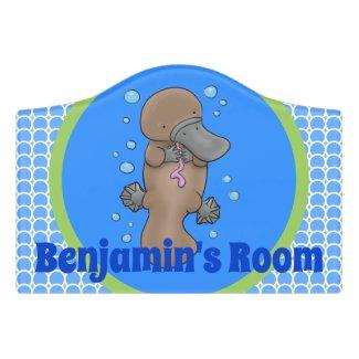 Cute platypus  baby swimming cartoon illustration door sign