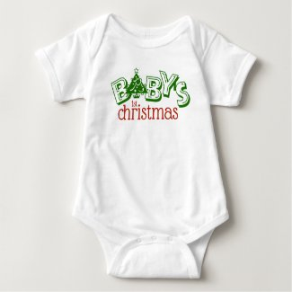 Cute Playful Baby's First Christmas Word Art Baby Bodysuit