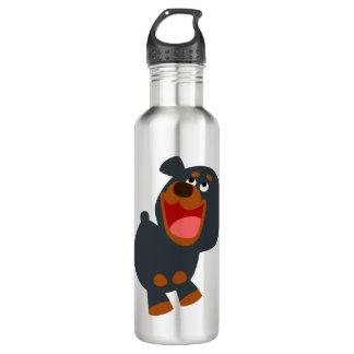 Cute Playful Cartoon Baby Rottweiler 710 Ml Water Bottle