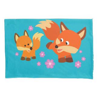 Cute Playful Cartoon Foxes Pillow Case