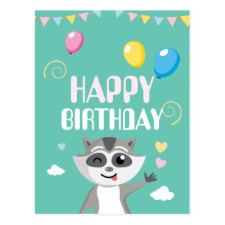 Cute playful funny raccoon with balloons postcard