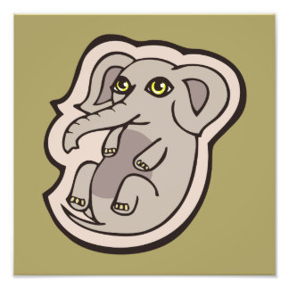 Cute Playful Gray Baby Elephant Drawing Design Art Photo