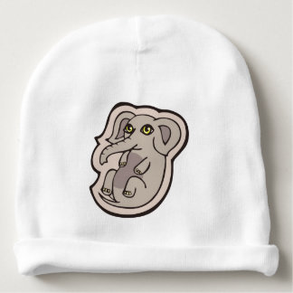 Cute Playful Gray Baby Elephant Drawing Design Baby Beanie
