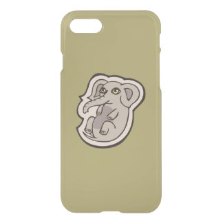 Cute Playful Gray Baby Elephant Drawing Design iPhone 7 Case