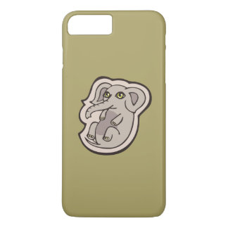 Cute Playful Gray Baby Elephant Drawing Design iPhone 7 Plus Case