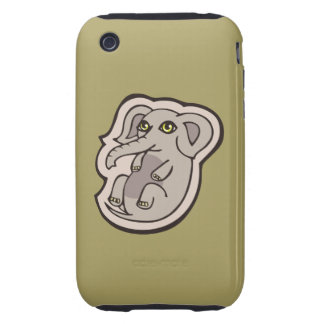 Cute Playful Gray Baby Elephant Drawing Design Tough iPhone 3 Cover