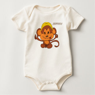 Cute Playful Monkey with Banana Rompers