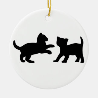 Cute Playing Kittens Christmas Ornament