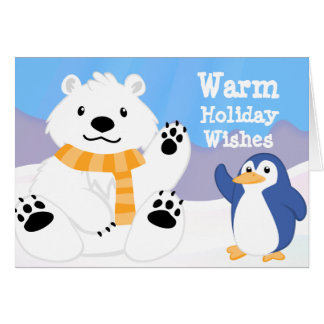 Cute Polar Bear and Penguin Holiday Card
