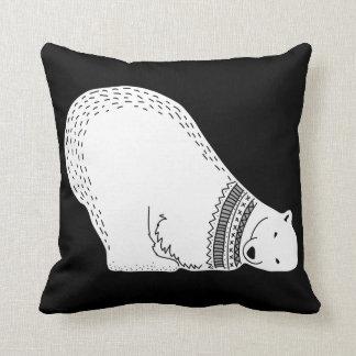 Cute Polar Bear Black and White Cushion