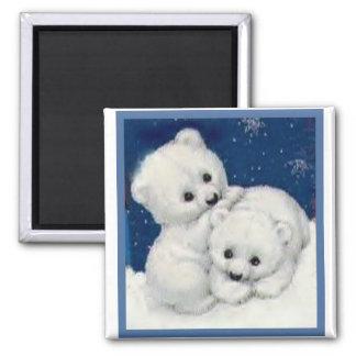 Cute Polar Bear Cubs Square Magnet