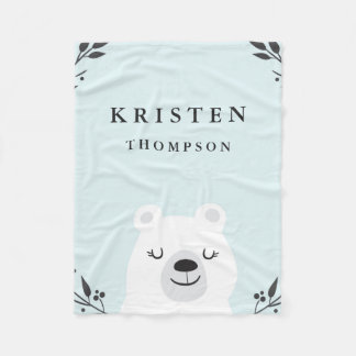 Cute Polar Bear Fleece Blanket