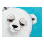Cute Polar Bear on Blue Postcard
