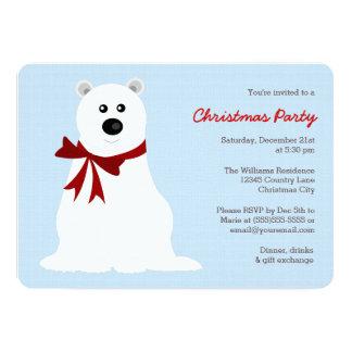 Cute Polar Bear on Ice Blue Christmas Party 13 Cm X 18 Cm Invitation Card