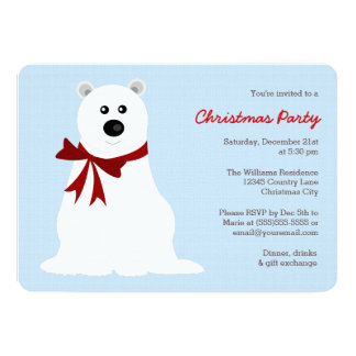 Cute Polar Bear on Ice Blue Christmas Party Card