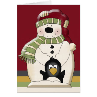 Cute Polar Bear Snowman and Penguins Christmas Card