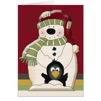 Cute Polar Bear Snowman and Penguins Christmas Greeting Card