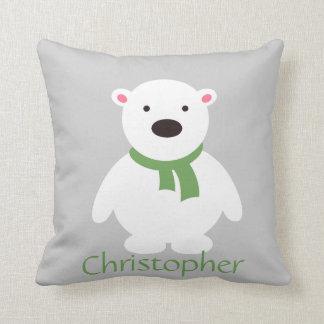 Cute Polar Bear w Green Scarf, Add Name Throw Pillow