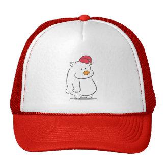 Cute Polar Bear wearing a red sleeping cap